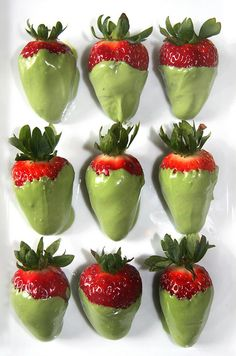 Green tea chocolate covered strawberries