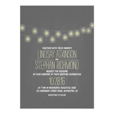 Modern Elegant String Lights Wedding Invitation