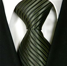 Neckties By Scott Allan, 100% Woven Olive Green and Black Tie, Dark Green Neck Ties for men $14.99