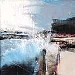 SH015, Dockside, mixed media on canvas, 30 x 30cm