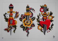 Traditional Tattoo Flash | suffering with a cold this weekend so I decided to paint some flash ...