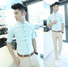 2014 Spring Summer Half Sleeve Men Fashion Shirts Slim Stylish Men Clothing Wholesale $24.66