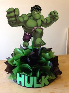 The Incredible Hulk centerpiece party by CuteCreationShop1 on Etsy, $20.00    Visit www.fireblossomcandle.com for more party ideas!