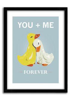 Cute Ducks Poster, Love quote print, You and Me, Forever, housewarming art, pop art, love poster, romantic print, Love Print