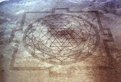 Hindu Sri Yantra mandala in Oregon:  Interestingly, the skies above the Sri Yantra are regularly used as part of the Idaho Air National Guard's pilot training area. There had been no trace of this formation. Neither had any of the other pilots of the Idaho National Guard observed any unusual activity or a design-in-process in this area. The etching simply appeared one morning without tire marks or footprints around it.