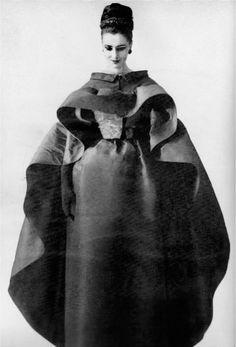 Maggi Eckardt wearing a Cristóbal Balenciaga dress and cape, photographed by Tom Kublin for Harper's Bazaar, November 1961.