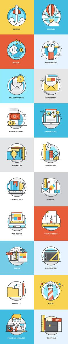 Set of Flat Color Line Design Concepts for creating amazing websites on various topics of Social Media, Digital… Web Design, Icon Design, Design Sites, Line Design, Flat Design, Design Concepts, Design Lab, Sketch Design, Serious Game