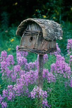 Birdhouse made of bark and tied with twine in garden of purple Dames rocket