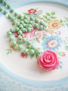 pretty wooden beaded necklace with sweet resin rose pendant by Silly Old Suitcase on Etsy