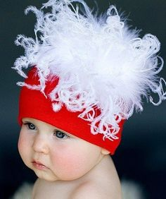 Jamie Rae Hats Red Cotton with White Curly Marabou