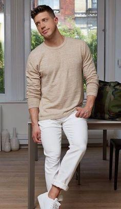 plain beige tshirt with white denims and white sneakers #MensFashion