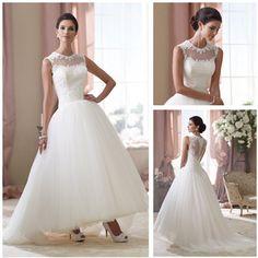 Best Selling New Arrive Elegant Sleeve Sheer Neck Lace Top Ankle Length Wedding Dresses
