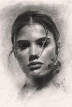 Form and inspiration - autumn salon disegni a carboncino, guide per disegno Foto Portrait, Pencil Portrait, Portrait Art, Charcoal Sketch, Charcoal Art, Charcoal Drawings, Pencil Art Drawings, Art Drawings Sketches, Realistic Face Drawing