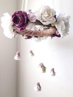 Royal purple nursery flower mobile crib mobile baby by RosyRilli