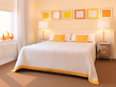 I love orange! This is SO cute. Don't think my husband would EVER let me do this to our room though....
