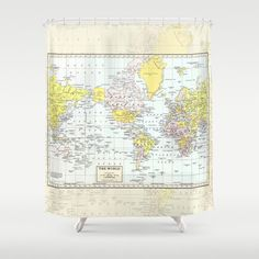 World Map Shower Cur