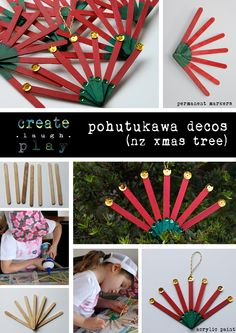 Pohutukawa flower decos for Xmas tree decoration. Popsicle sticks and acrylic pa… – recycled Stick Christmas Tree, Summer Christmas, Kids Christmas, Christmas Ornaments, Christmas Activities For Kids, Art Activities For Kids, Activity Ideas, Craft Ideas, Tree Crafts
