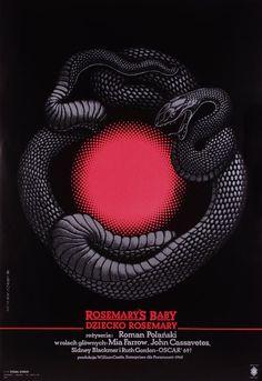 Dziecko Rosemary  Original Polish movie poster  film, USA  director: Roman Polanski  actors: Mia Farrow, John Cassavetes  designer: Roslaw Szaybo  year: 1990
