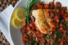 Snapper with a Spicy Tomato, Citrus and Herb Sauce.