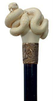 Victorian cane/walking stick - carved ivory snake handle