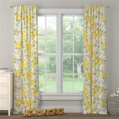 Yellow Floral Tropic Drape Panel made with care in the USA by Carousel Designs. Drapes And Blinds, Window Drapes, Curtains, Yellow Nursery, Floral Nursery, Bedroom Drapes, Carousel Designs, Custom Drapes, House Windows