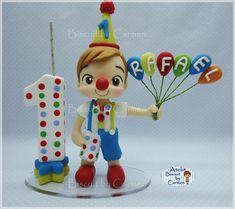 Vela para Topo de bolo, tema Circo Circus First Birthday, Boy Birthday, Birthday Parties, Carnival Themes, Party Themes, Luigi, First Birthdays, Cake Toppers, Polymer Clay