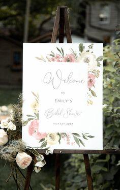Elegant Bridal Shower, Bridal Shower Tea, Bridal Shower Signs, Bridal Shower Invitations, Wedding Stationery, Sign Templates, Wedding Templates, Wedding Invitation Templates, Bridal Shower Welcome Sign