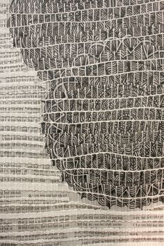 Nicole Heppard : Kingswood Weaving Studio | detail: cotton + newspaper + ink on mylar strips | Bloomfield Hills, Michigan, U.S.A. | 2013