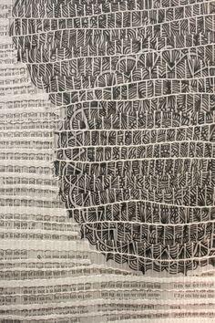 Nicole Heppard : Kingswood Weaving Studio | detail: cotton + newspaper + ink on mylar strips | Bloomfield Hills, Michigan, U.S.A. | 2013
