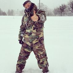 Jesse playing in the snow and he rocking his old military gear from Germany.