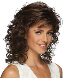 Shoulder length layered wig with spiral curls. Features include super thin and resilient dual elastic sides and an all open-stretch cap construction.Length: Bang Side Crown Nape Size: Average Color Shown: Colors: Curly Hair With Bangs, Curly Hair Cuts, Curly Bob Hairstyles, Short Curly Hair, Hairstyles With Bangs, Wavy Hair, Easy Hairstyles, Curly Hair Styles, Medium Length Curly Hairstyles