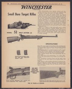 Buy 1958 WINCHESTER 52 Small Bore Target Rifle AD: GunBroker is the largest seller of Other Collectibles Collectibles & Militaria All Winchester Firearms, Rifle Targets, Long Island City, Old Signs, Guy Stuff, Advertising Poster, Pistols, Rifles, Weapons