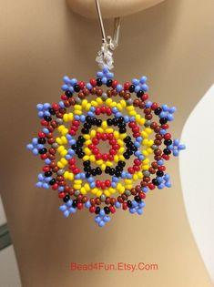Seed Beaded Earrings Name: Game-Over Mandala Earring Eye-Catching Earring Southwestern Cowgirl Showy Boho-Chic Designer Earrings Seed Bead Bracelets, Seed Bead Earrings, Beaded Earrings, Seed Beads, Beaded Jewelry, Hoop Earrings, Diy Jewelry, Jewelry Findings, Jewelry Ideas