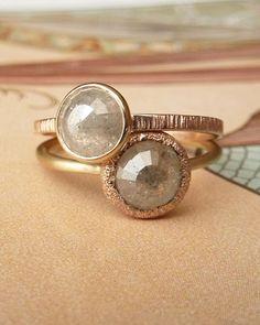 via @Lauren Davison Davison Cavaleiro Love these smoky stones + rose gold. The bottom one is killing me.
