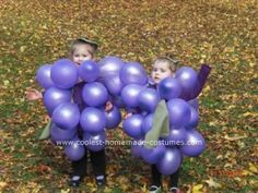 Made my twins homemade bunch of grapes costumes for Halloween. Very easy steps to build and they were a huge hit. I made the purple grapes so I started off Grapes Costume, Fruit Costumes, Homemade Costumes, Diy Costumes, Halloween Costumes, Twins, Berries, Projects To Try, Purple