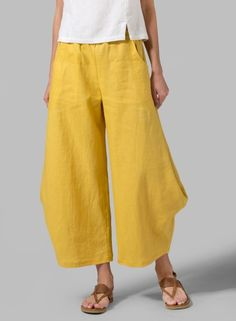 Mustard Yellow Linen Flared Leg Crop Pants - sophisticated, chic and comfortable, as well as exceptionally flattering on your figure.