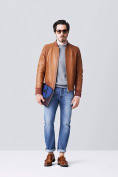 cognac fitted bomber with heather grey sweater and worn in jeans...love