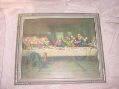 Vtg Antique Last Supper Picture Ornate Wood Frame Jesus Christ 11 by 13 inches