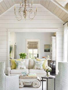 shiplap paneled walls; wood paneled ceiling
