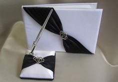 black and white wedding guest books and pens | Wedding Black and White Guest Book and Pen - Wedding Wish