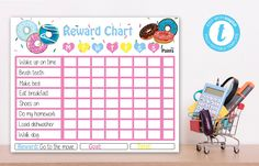 Editable Donut Reward Chart, Donut instant download party invitationr, You print birthday banner, Donut DIY party Donut Diy, Diy Donuts, Diy Party Themes, Donut Birthday Parties, Slumber Parties, Eat Breakfast, How To Make Bed, Party Banner, Chart