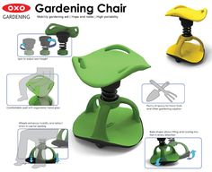 Gardening Chair : Mobility Gardening Aid for Boomers by Han S. Hong | Tuvie . This Gardening Chair has been designed to support the action and movements that take place during home gardening. Squatting, getting up and down, moving short distances or leaning to a desired direction are the most repeated and difficult movements. Especially for the older people, Gardening Chair helps maintaining the user's garden easier and more enjoyable by making those movements easy.