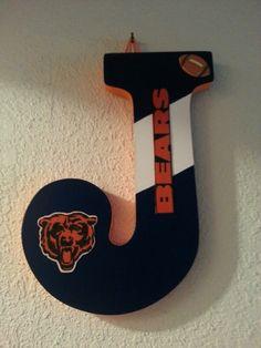 """B"" Bires & Bears Hanging initial. Thinking Christmas?? Chicago Bears"