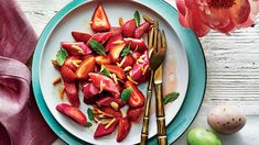 This salad is a delightfully unexpected way to use the fresh rhubarb and berries that are just coming into season. The dressing on this bright,