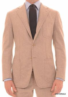 SARTORIA PARTENOPEA Hand Made Napoli Beige Wool Flannel Suit EU 50 NEW US 38 40 R7