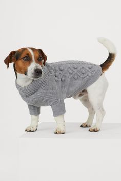 Soft, cable-knit dog sweater with a ribbed collar. Ribbing around front legs and at back edge. Knit Dog Sweater, Dog Sweaters, Grey Sweater, Leopard Print Loafers, Green Utility Jacket, Cute Baby Bunnies, Puppy Birthday, Western Hats, Blue Quilts