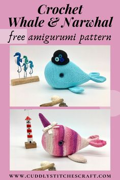This free whale and narwhal crochet pattern was inspired by my love of the sea and whales in particular. Whales are wonderful and gentle creatures so who wouldn't love to crochet one as a gift for their little ones?! This pattern includes instructions for both Wayne the Whale and Nelly the Narwhal and is ideal for beginners as it's easy to follow and most of the toy is crocheted in one piece. #crochet #crochetanimals #crochetdolls #amigurumi #crochetpatterns Diy Crochet Animals, Crochet Whale, Yarn Animals, Crochet Animal Patterns, Knitted Animals, Stuffed Animal Patterns, Cute Crochet, Doll Patterns, Easy Amigurumi Pattern