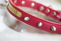 Personalized Spike Dog Collar, Leather Collar with Spikes, Red Personalized Spike Collar, Spike Dog Collar with name plate, Spike Dog Collar Custom Dog Collars, Leather Dog Collars, Dog Collar With Name, Cartier Love Bracelet, Bangles, Spikes, Dogs, Silver, Jewelry