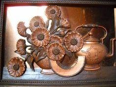 copper decorative items | Copper Wall Art or Kitchen Decor 11 x 15 Frame by marjorieanns