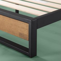 Twin Suzanne Metal and Wood Platform Bed Frame with Headboard Shelf Brown - Zinus